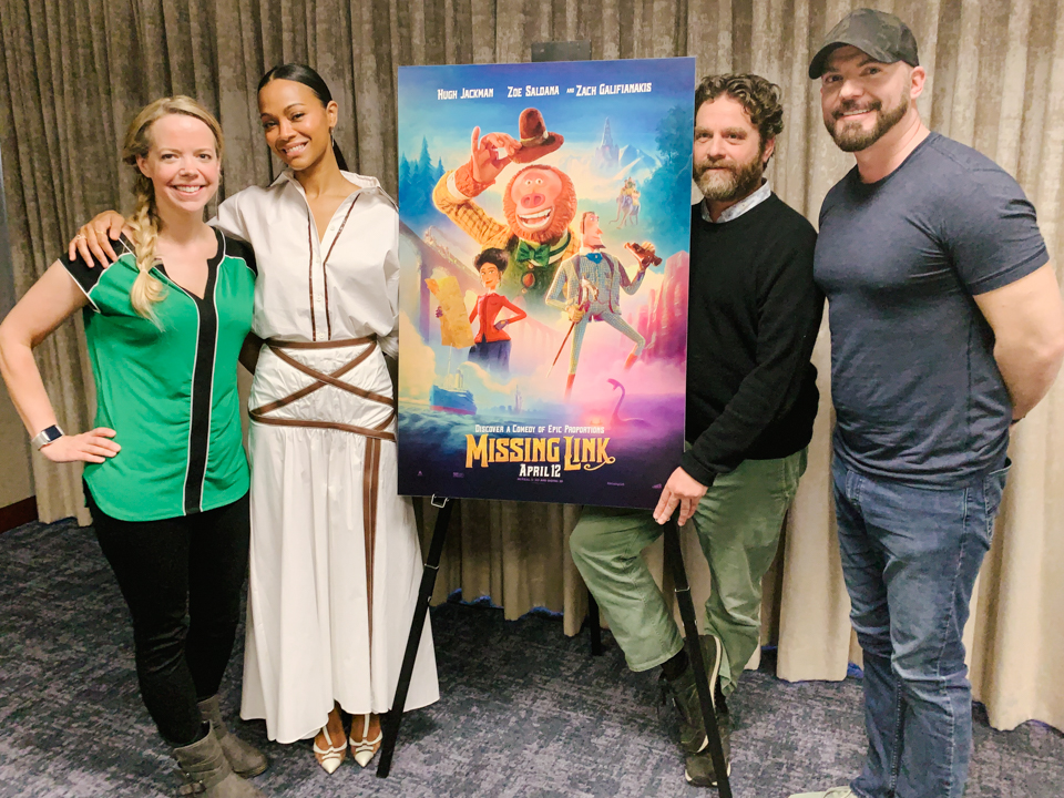 Missing Link movie interview with Zoe Saldana, Zach Galifianakis and Chris Butler