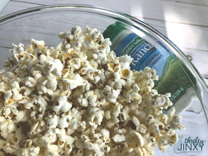 Ranch Seasoned Popcorn in Bowl