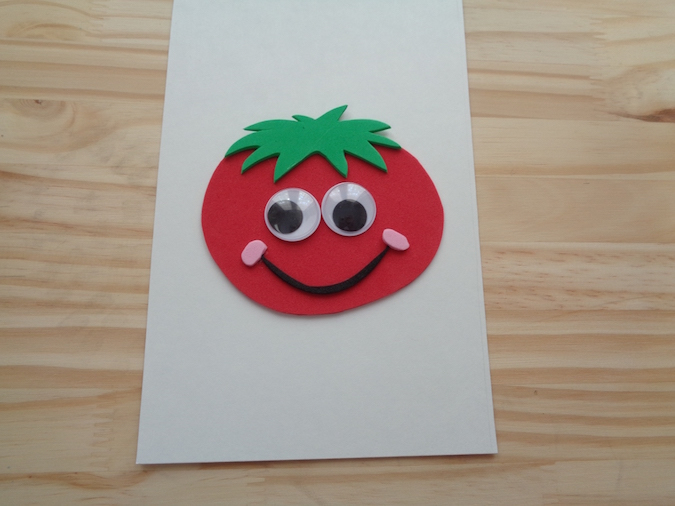 tomato face made with craft foam and google eyes
