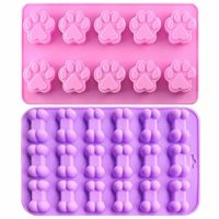Food Grade Silicone Mold, IHUIXINHE Non-stick Ice Cube Mold, Jelly, Biscuits, Chocolate, Candy, Cupcake Baking Mould, Muffin pan (Puppy Paw & Bone 2PCS)