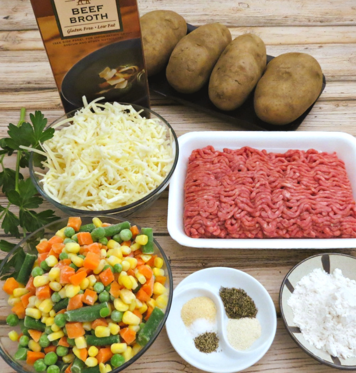 Ingredients for Layered Shepherd's Pie