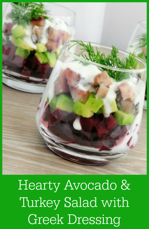 This Hearty Avocado and Turkey Salad with Greek Dressing Recipe skips the lettuce and gives you a protein-filled meal that will leave you feeling full and satisfied. #salad #turkey #beets #avocado
