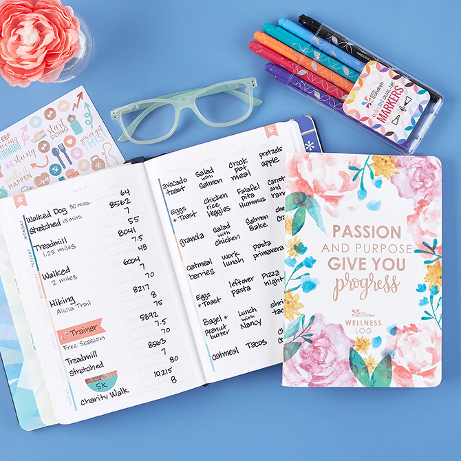 erin Condren Wellness Log with markers