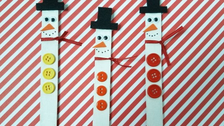 Craft Stick Snowman Magnets