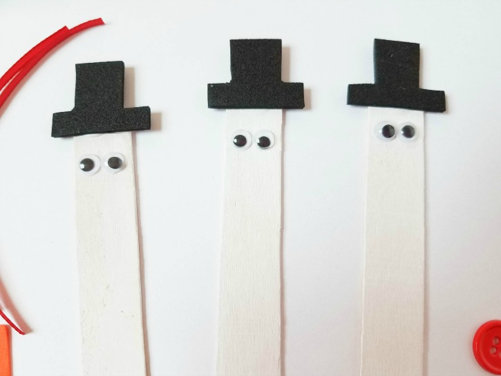 Craft Stick Snowman Magnets process