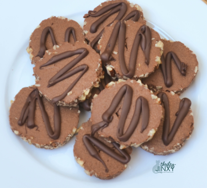 Chocolate Pecan Cookies on a Plate