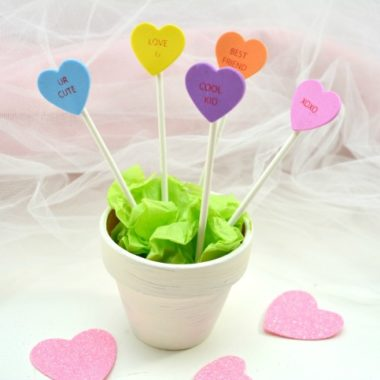 Cute Conversation Heart Planter Craft for Kids