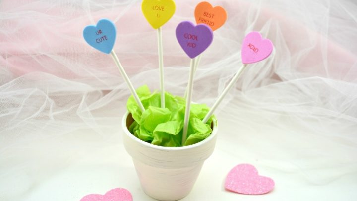 Conversation Heart Planter Craft for Kids