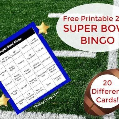 Super Bowl Bingo Printable Cards
