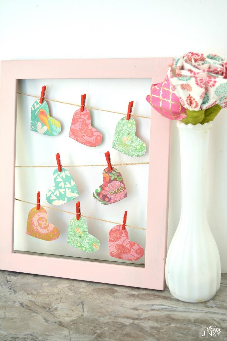 Valentine Clothesline Heart Frame Decor Craft