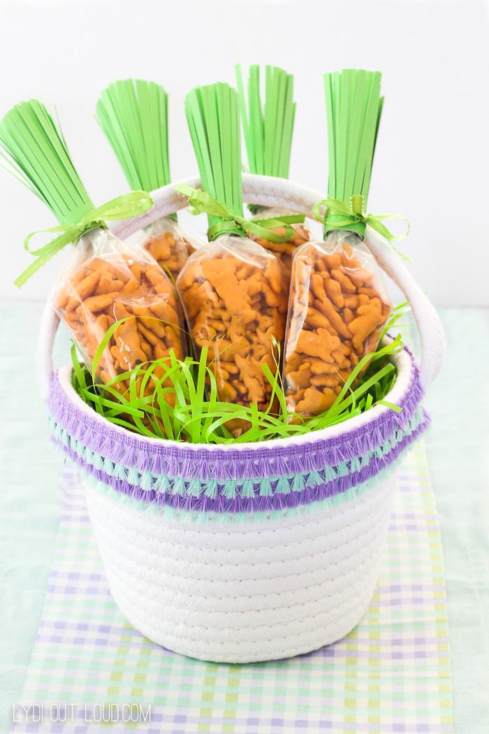 DIY Fringe Easter Basket & Carrot Easter Treat Bags