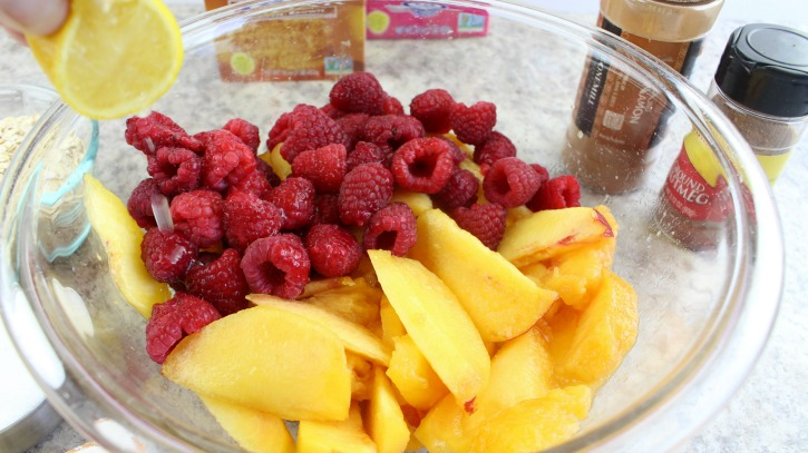 Peaches and Raspberries in Bowl