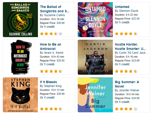 Audiobook choices including Stephen King, Jennifer Weiner, Suzanne Collins and Curtis Jackson