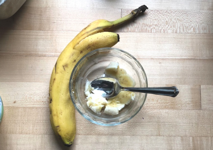 Banana and Yogurt in Bowl