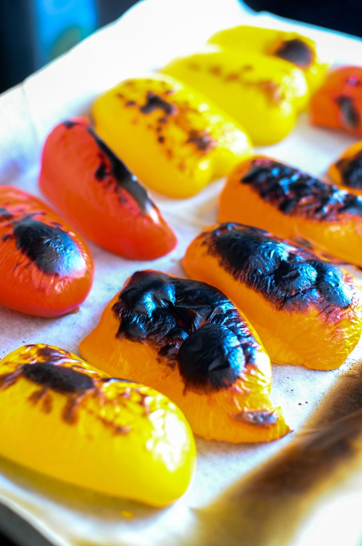 Charred Sweet Peppers on baking sheet