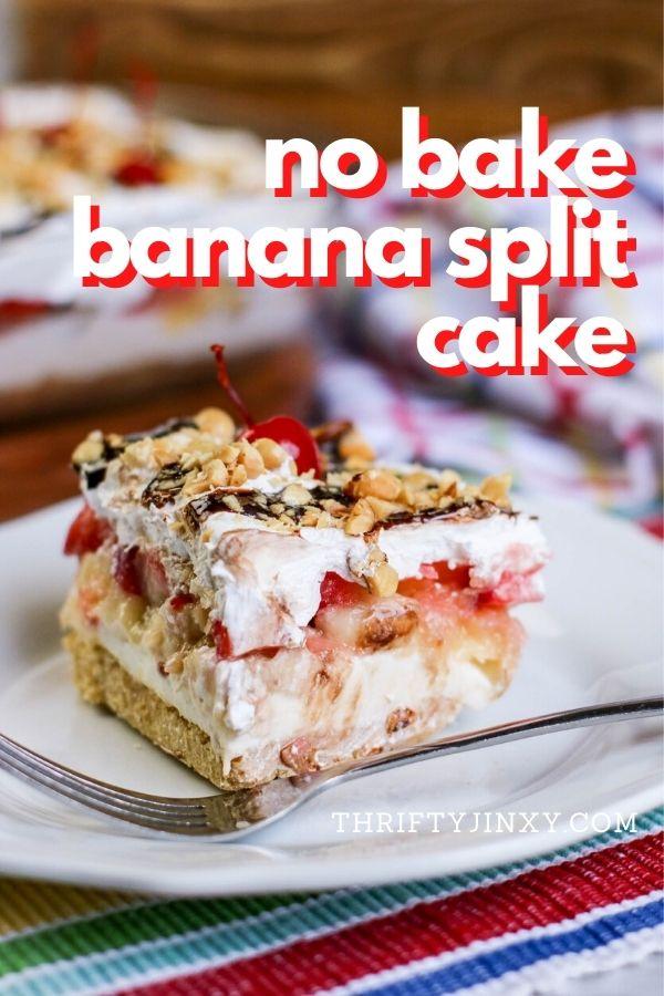 No Bake Banana Split Cake Recipe