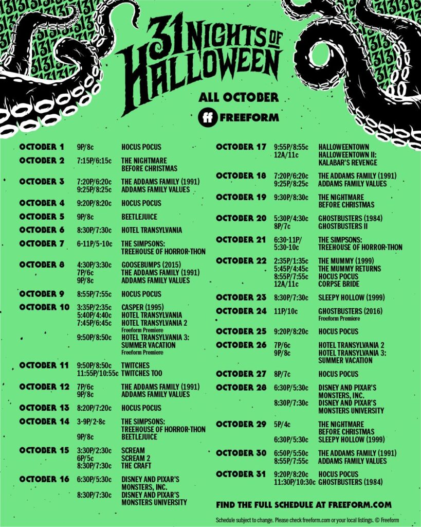Freeform 31 Nights of Halloween Schedule 2020
