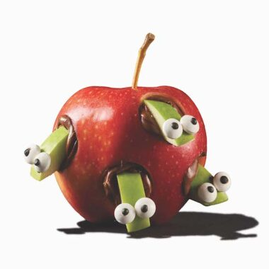 worm apple snack with candy eyes