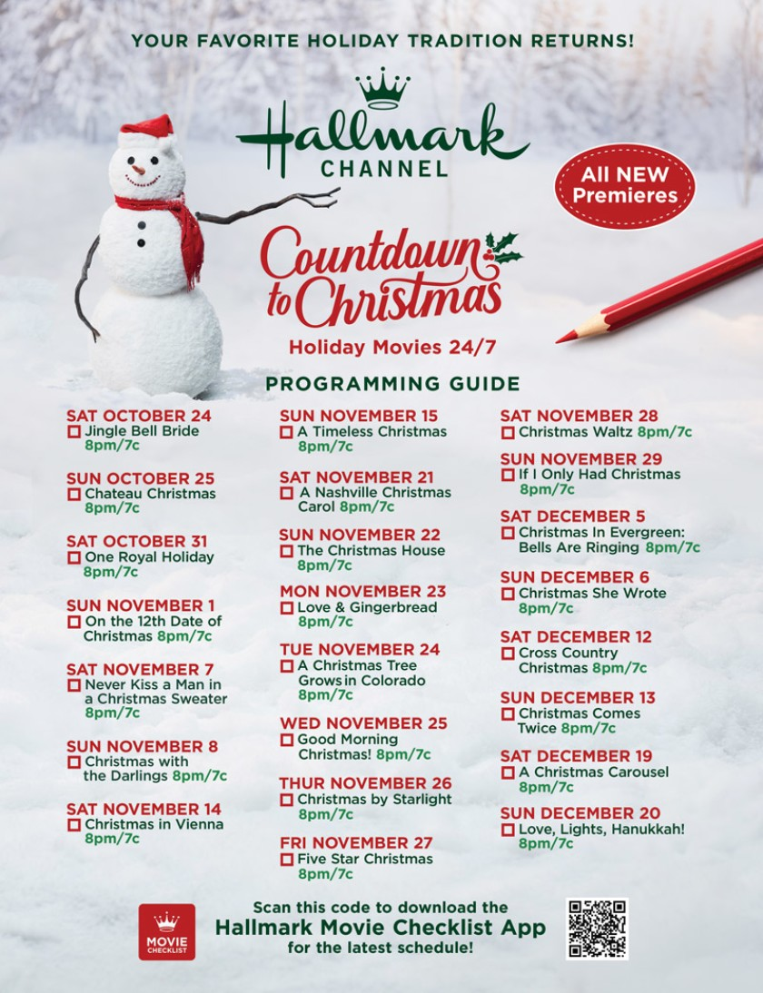 Countdown to Christmas Schedule 2020
