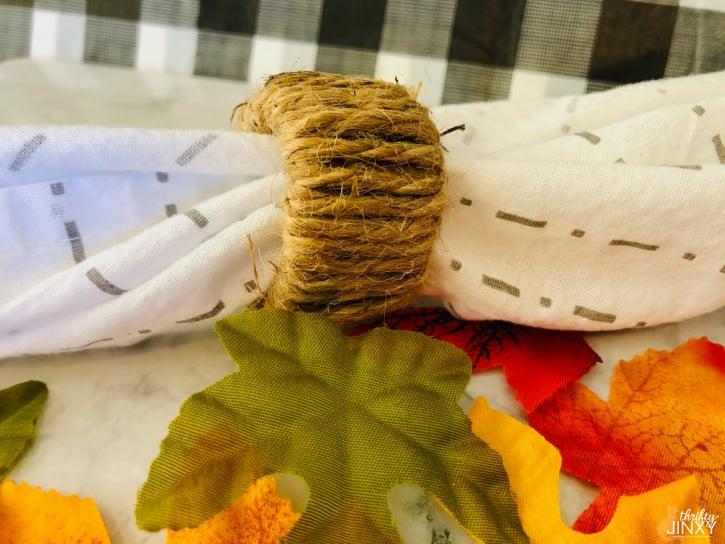 DIY Napkin Rings natural jute twine