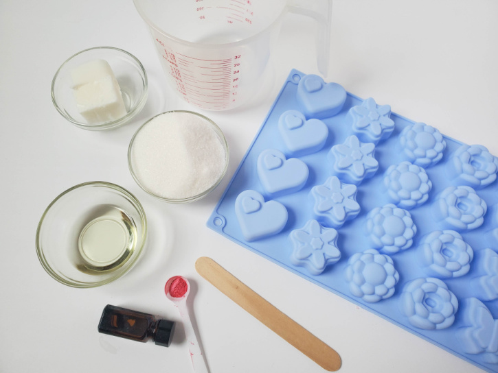 Exfoliating Sugar Scrub Bars Recipe supplies needed