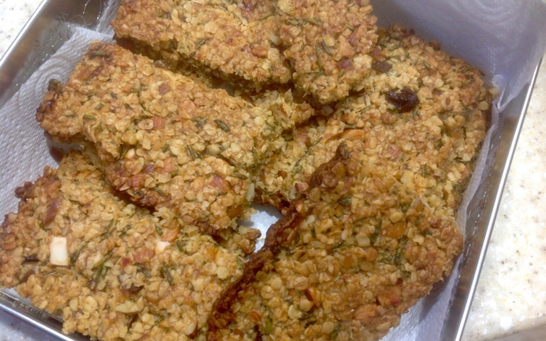 Savoury flapjacks, fragrant with rosemary, caramelised onions and sweet chilli, 15p
