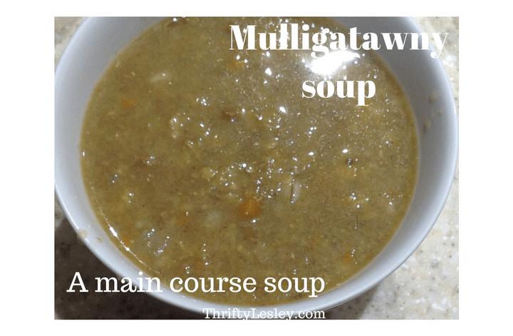 A main course soup – mulligatawny, 46p a big bowl