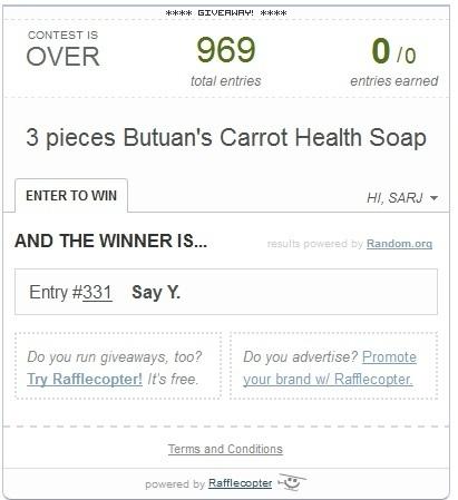giveaway, winner, festival winner, balangay festival winner, carrot health soap, raffle