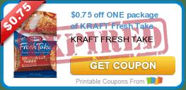 $0.75 off ONE package of KRAFT Fresh Take