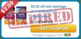$2.00 off one package of GOODNITES Underwear