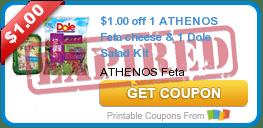 $1.00 off 1 ATHENOS Feta cheese & 1 Dole Salad Kit