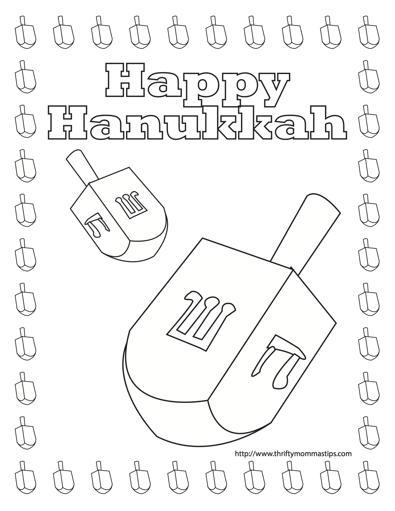 Free Printable Dreidel coloring pages