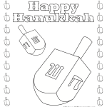 Happy Hanukkah Free Printable Dreidel coloring pages