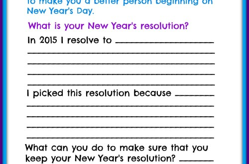 Children's New Years Resolutions Printable