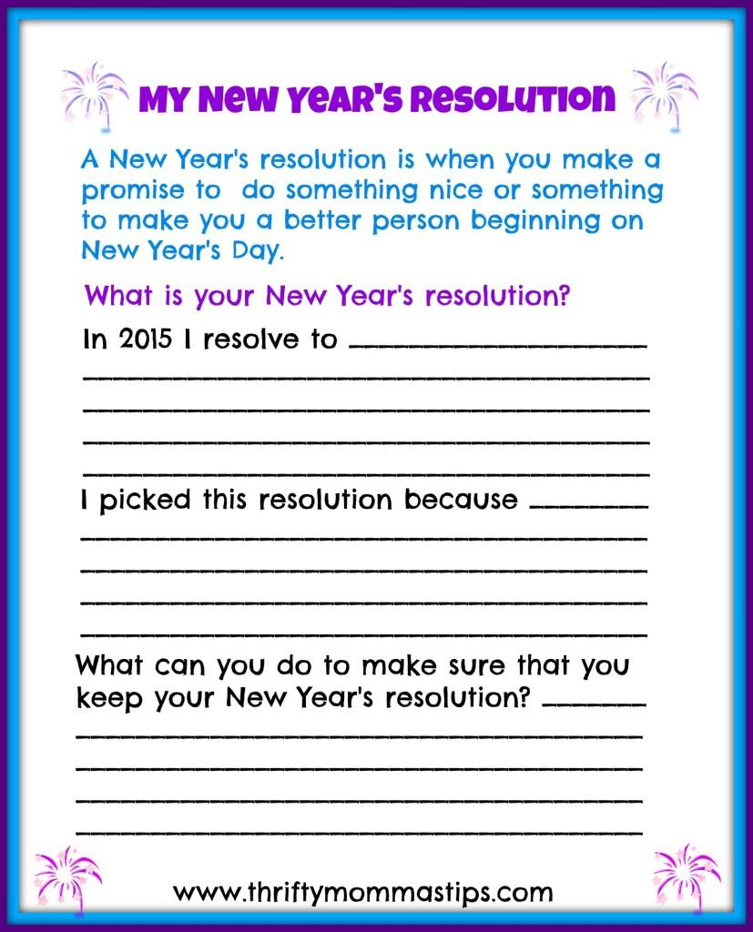 Children's New Years Resolutions Printable