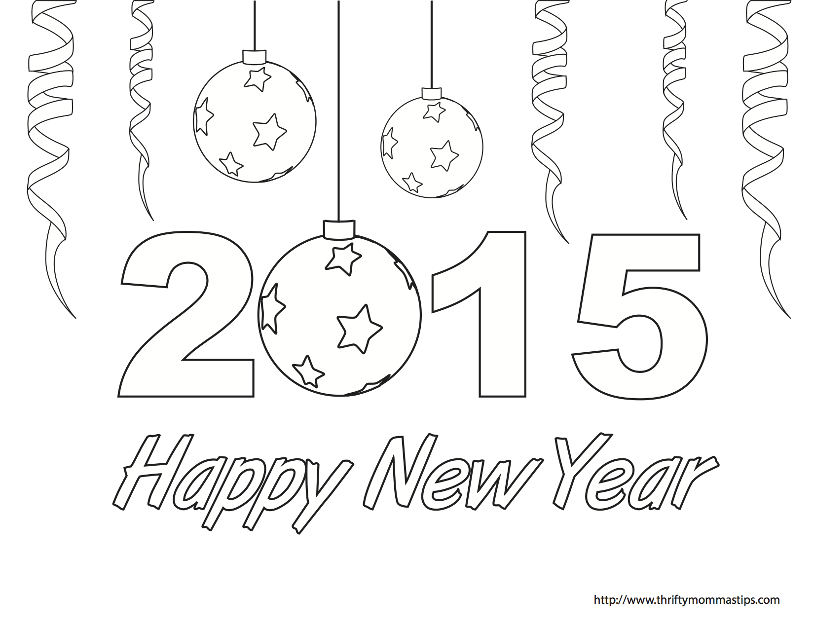 Free coloring pages new years - Happy New Year Coloring Page Free Printable