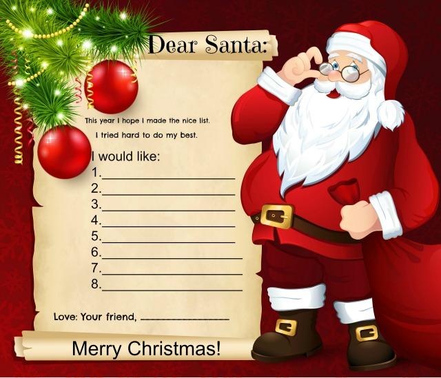 printable santa wish list letter – Santa Wish List Online