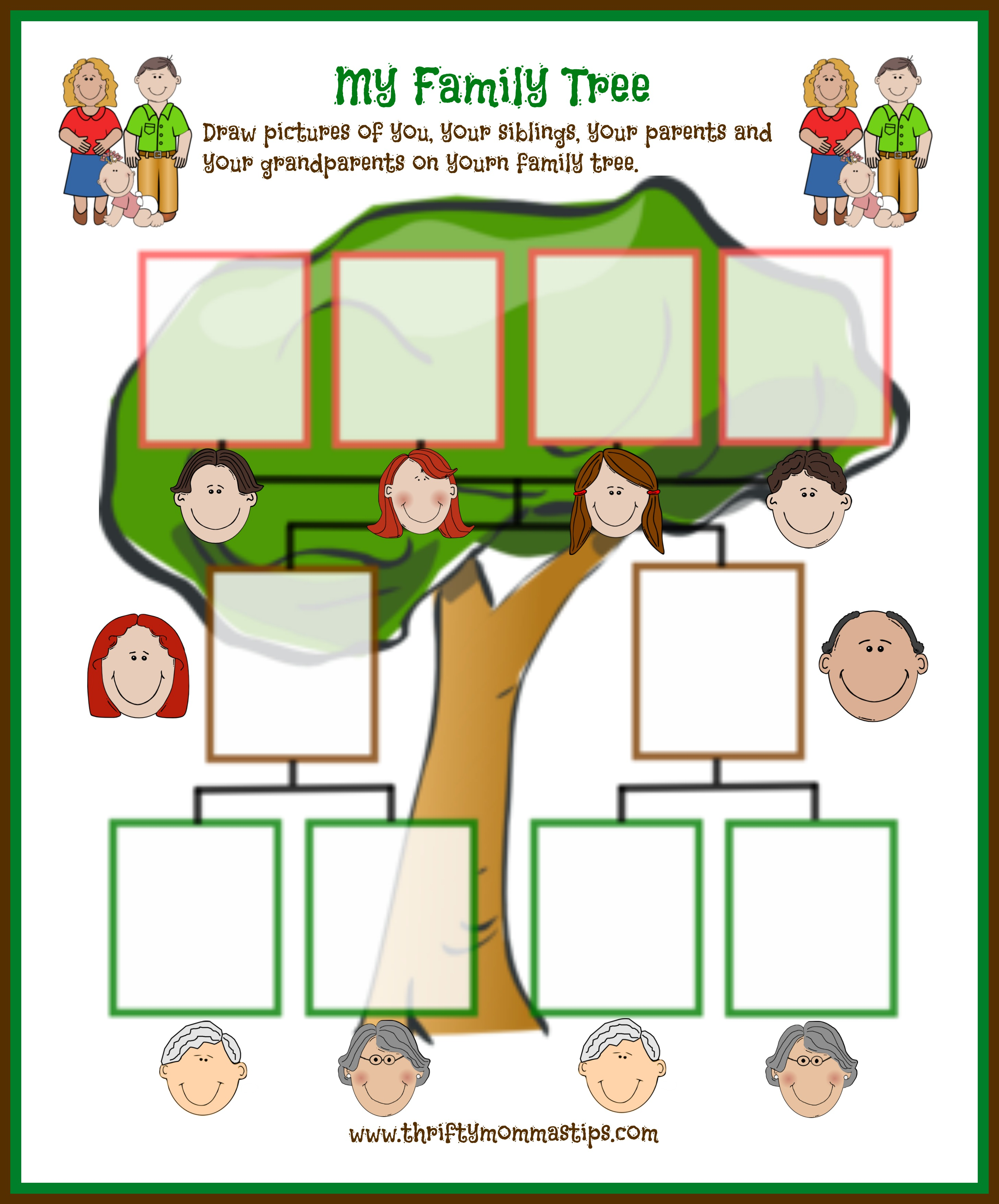 image relating to Printable Tree named Basic Relatives Tree Printable for Conventional People