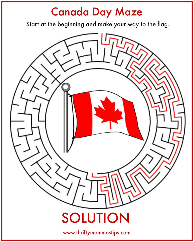 Canada Day Maze Solution