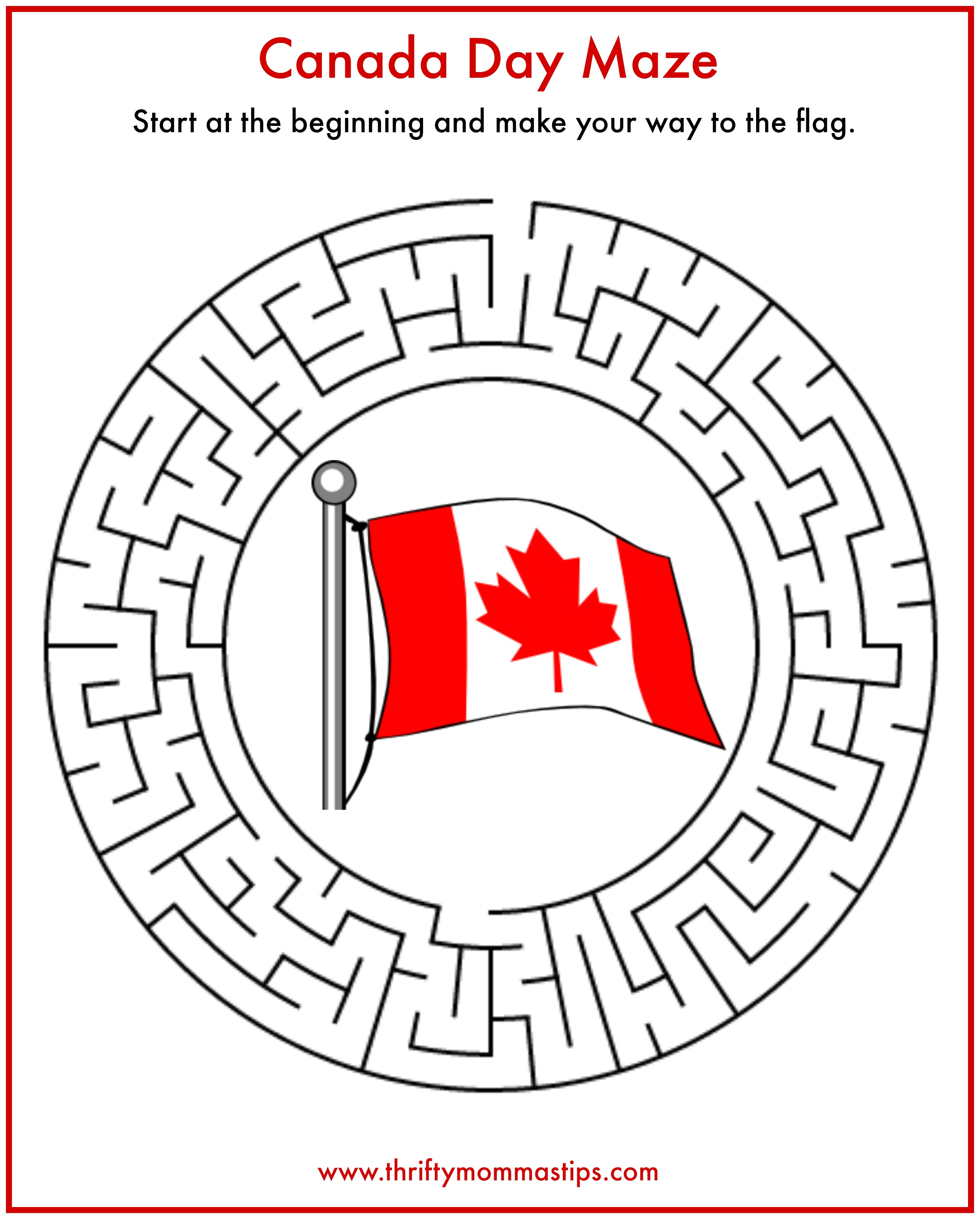 Fun Easy Canada Day Maze