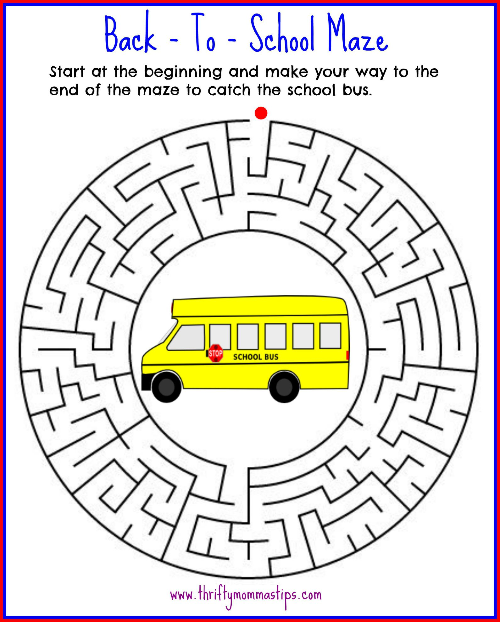 Back To School Maze Printable