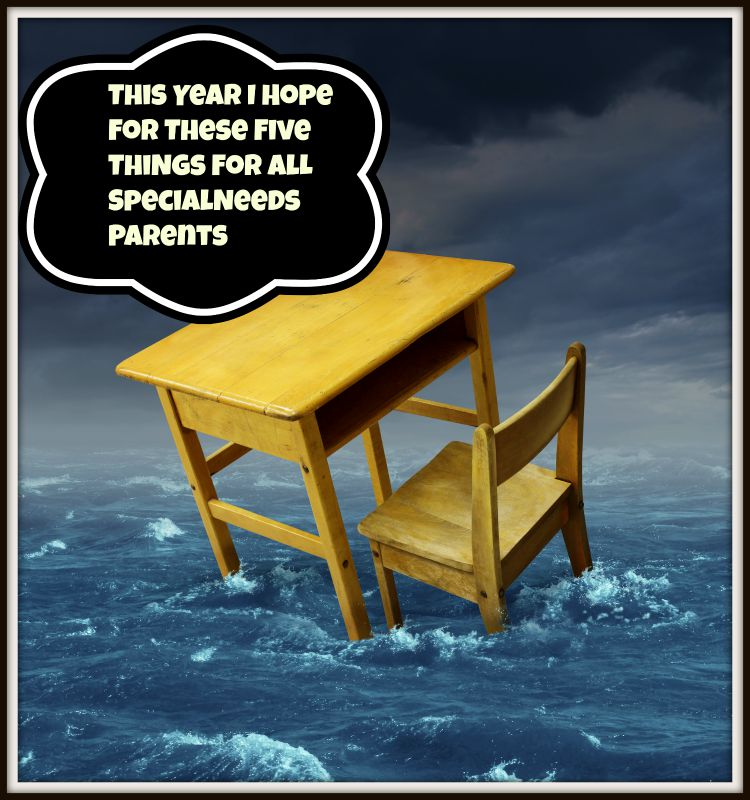 Education problems concept with an old school desk drowning in the water during a storm as a symbol of inaccessible schooling and funding challenges for special learning and literacy programs for underprivileged poor students.