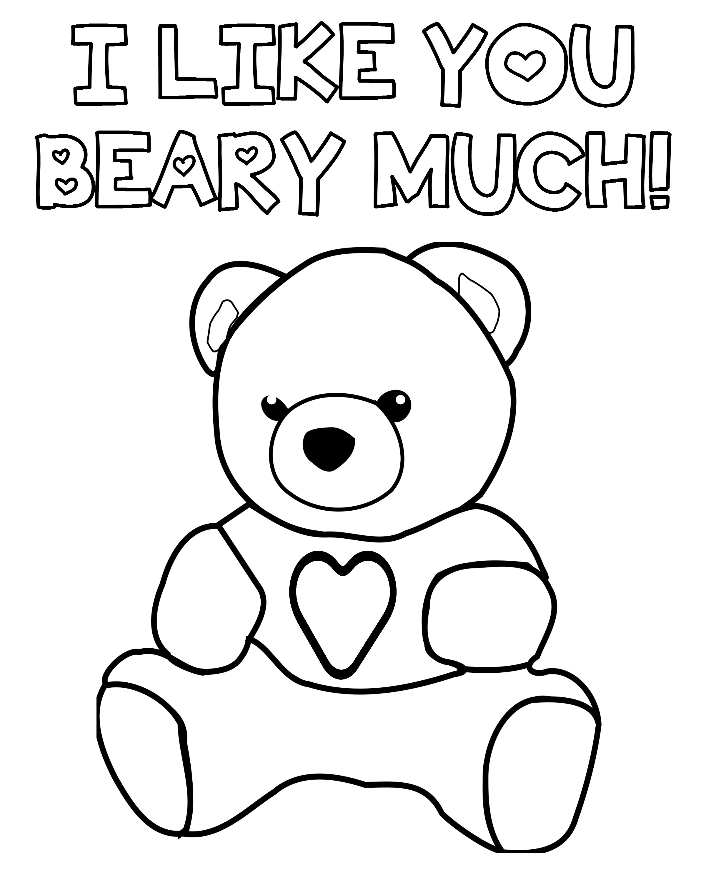 I Like You Beary Much - Teddy Bear Valentine\'s Day Coloring Page ...