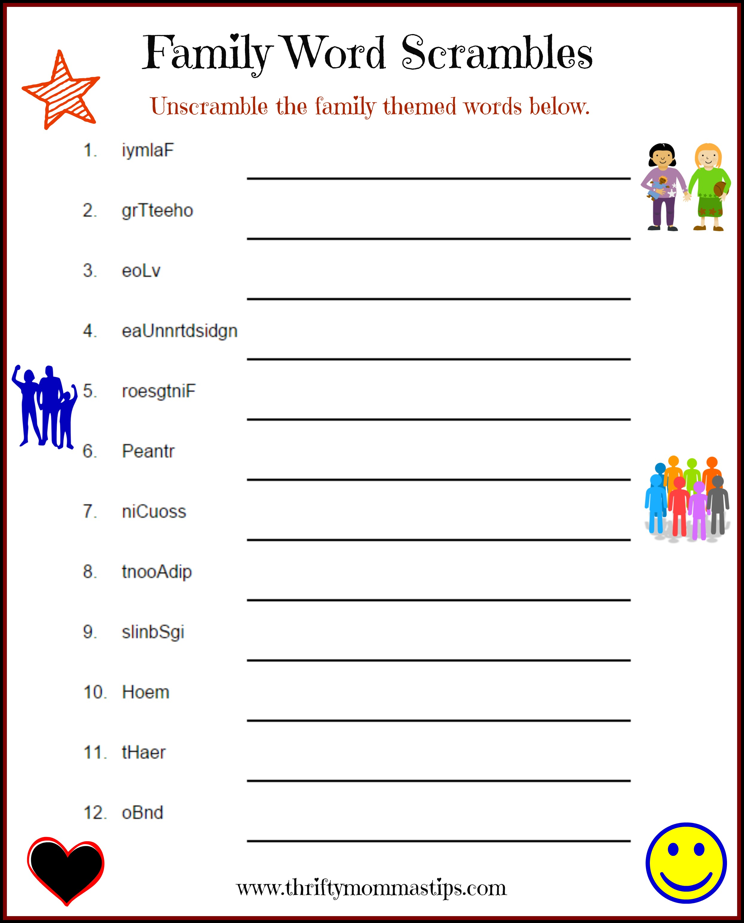 Family Puzzle Word Game Printable
