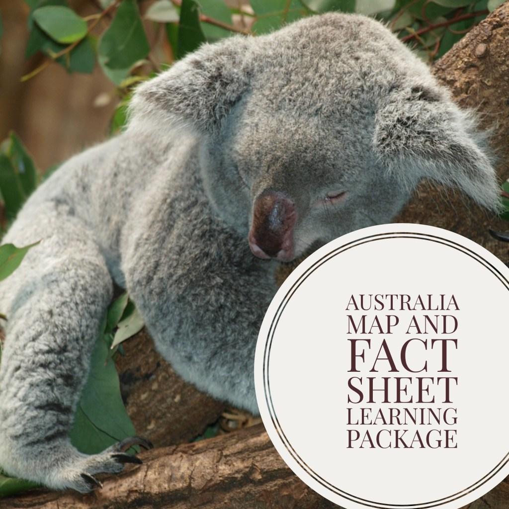 australia_Koala_map_and_fact_sheet_learning_set_for_kids