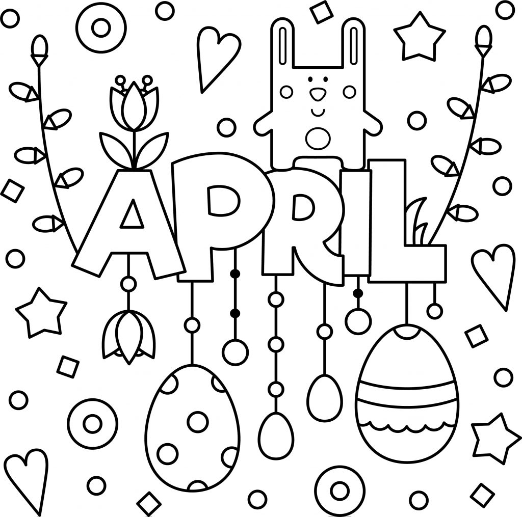 Welcome April Colouring Page Printable