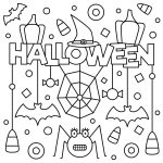 Adorable Happy Halloween Colouring Page