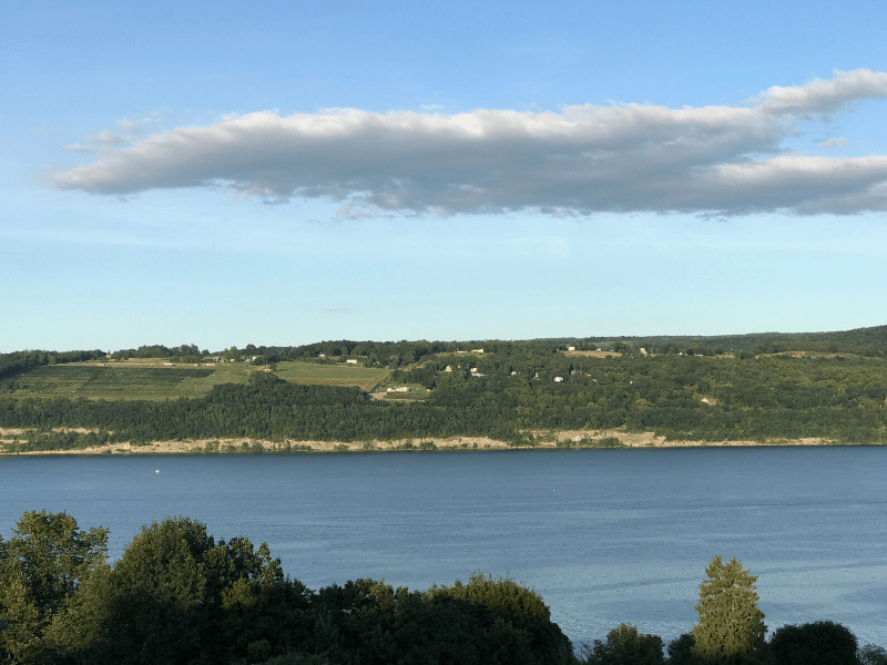 finger lakes winery region Watkins Glen view across Seneca Lake