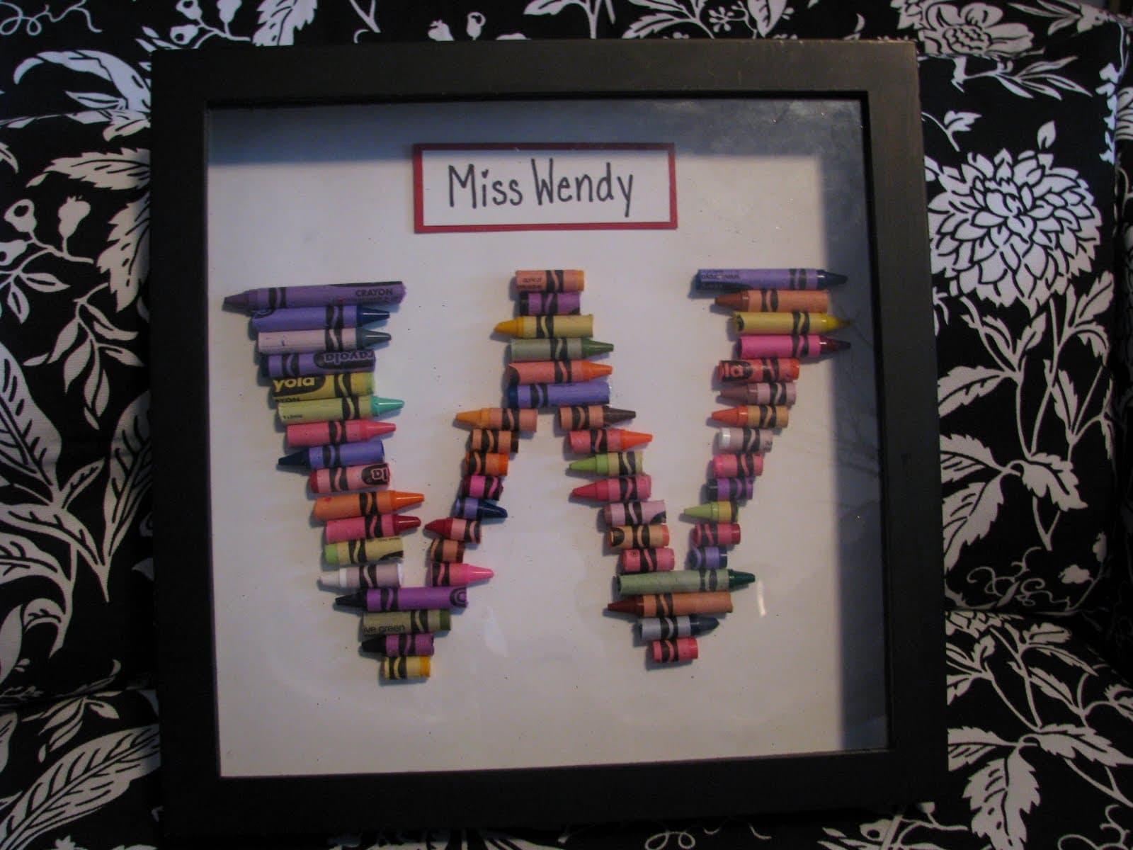 Teacher Gift Ideas Crayon Monogram Amp Crayon Wreath