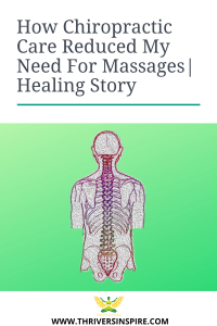 "Illustration of human spine with caption: ""How Chiropractice Care Reduced My Need For Massages"